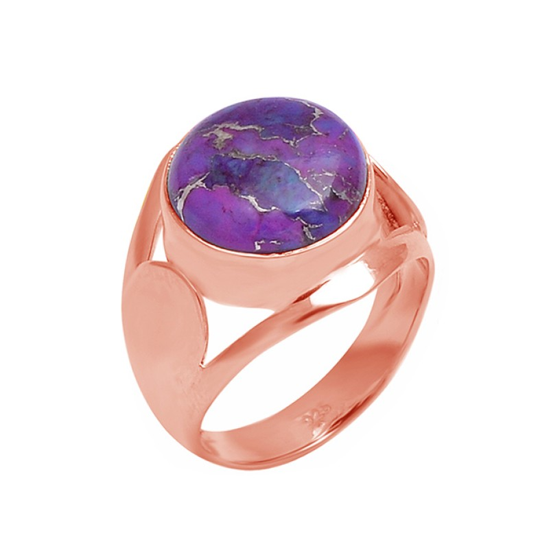 925 Sterling Silver Round Cabochon Purple Copper Turquoise Gemstone Ring Jewelry