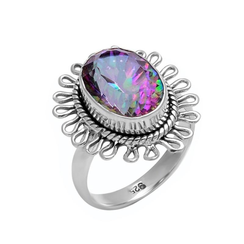 Attractive Designer Oval Shape Mystic Topaz Gemstone 925 Silver Black Oxidized Ring