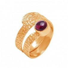 925 Sterling Silver Round Shape Garnet Gemstone Hammered Designer Ring