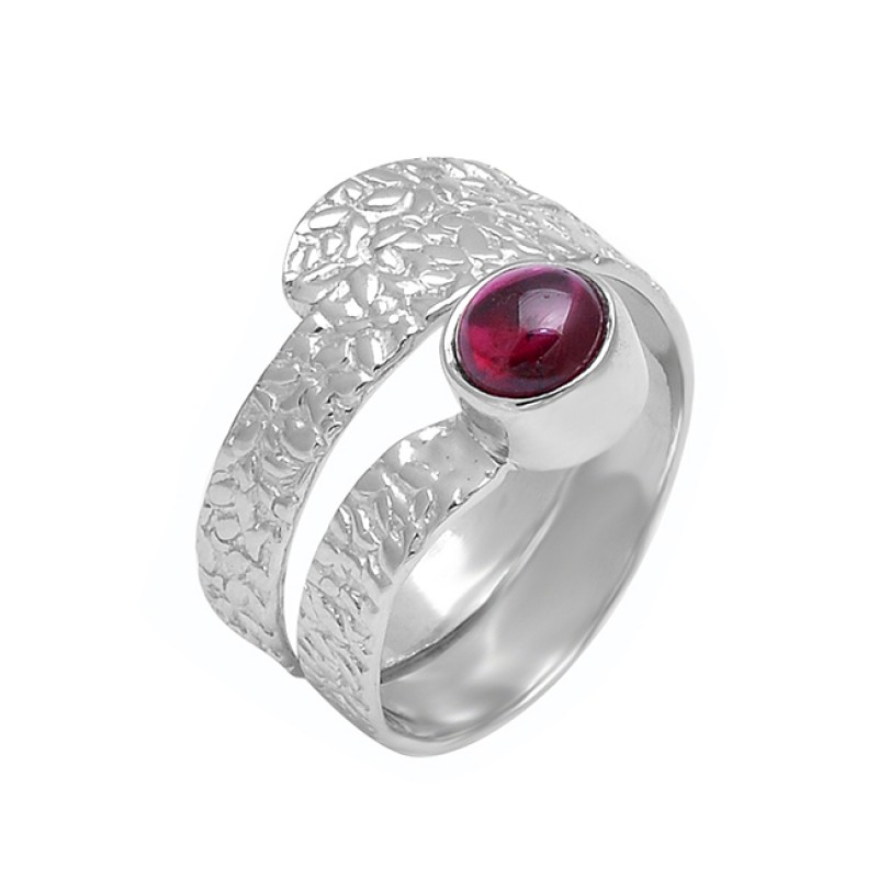 925 Sterling Silver Round Shape Garnet Gemstone Hammered Designer Ring