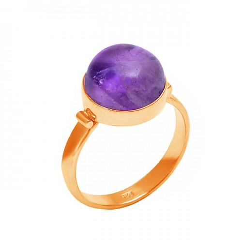 925 Sterling Silver Round Shape Amethyst Gemstone Handmade Designer Ring
