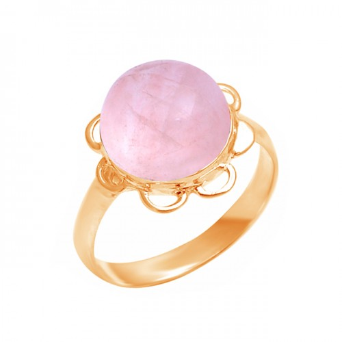 Round Cabochon Rose Quartz Gemstone 925 Sterling Silver Handmade Ring
