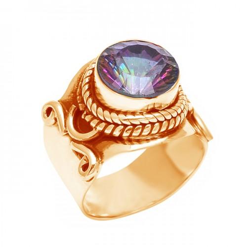 Faceted Round Shape Mystic Topaz Gemstone Designer Black Oxidized Ring Jewelry
