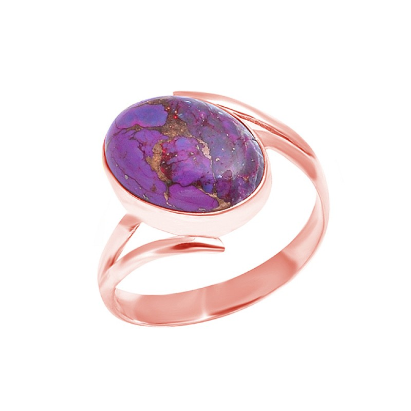 925 Sterling Silver Oval Purple Copper Turquoise Gemstone Handmade Band Ring