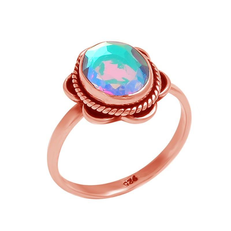 Oval Shape Rainbow Mystic Topaz Gemstone 925 Sterling Silver Black Oxidized Ring