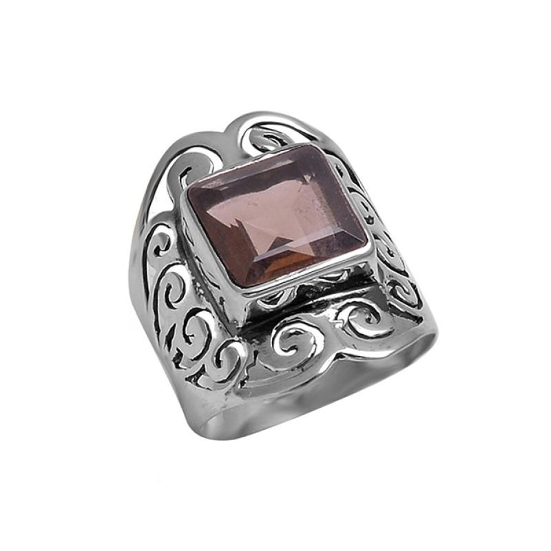 925 Sterling Silver Faceted Square Shape Smoky Quartz Gemstone Designer Ring