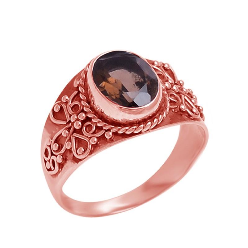 Faceted Oval Shape Smoky Quartz Gemstone 925 Sterling Silver Designer Ring