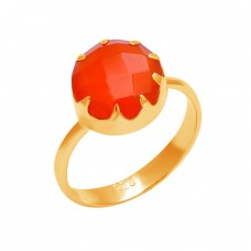 Round Shape Carnelian Gemstone 925 Sterling Silver Handcrafted Designer Ring