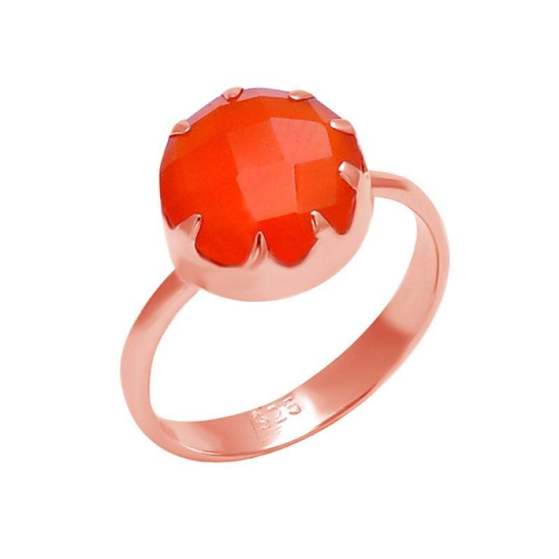 Round Shape Carnelian Gemstone 925 Sterling Silver Handcrafted Designer Ring