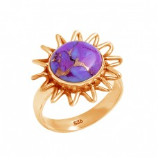Purple Copper Turquoise Round Shape Gemstone 925 Sterling Silver Ring