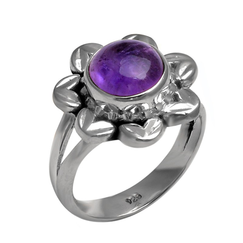 925 Sterling Silver Round Cabochon Amethyst handcrafted Designer Ring