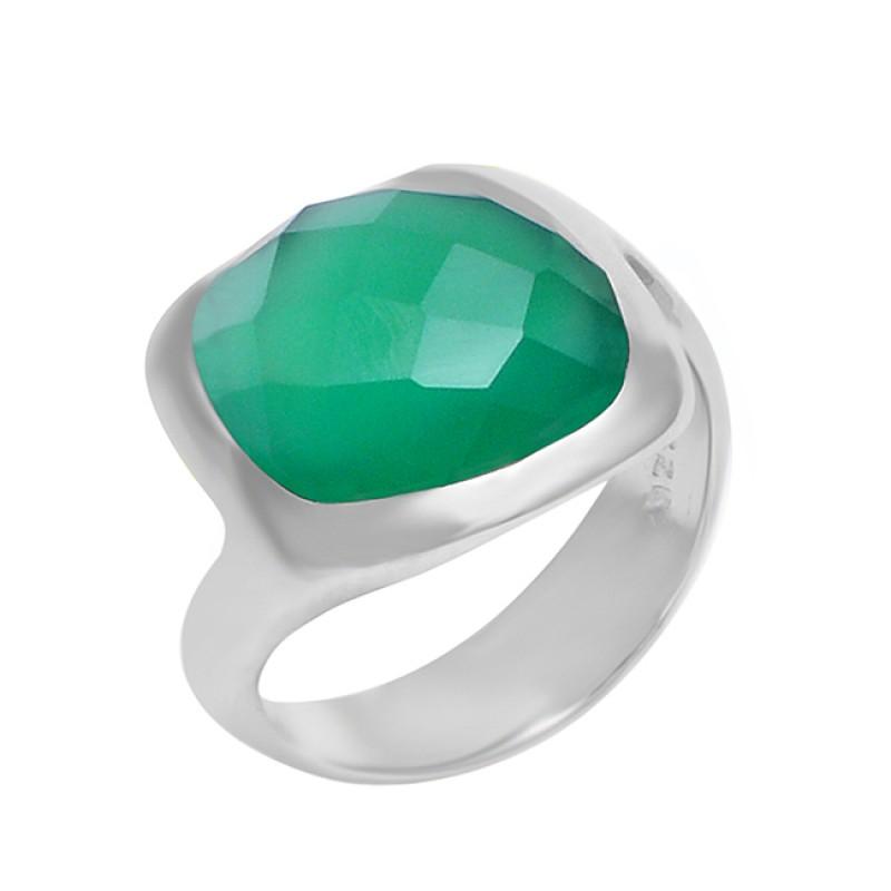 Cushion Shape Green Onyx Gemstone 925 Sterling Silver Band Designer Ring