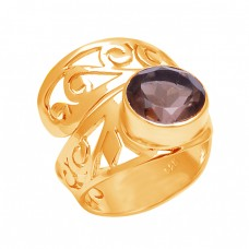 Stylish Filigree Band Designer Round Shape Smoky Quartz Gemstone 925 Sterling Silver Ring