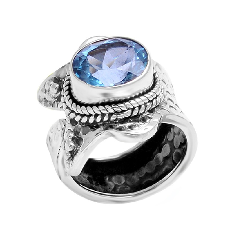 Faceted Oval Shape Blue Topaz Gemstone 925 Sterling Silver Black Oxidized Ring