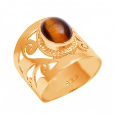 925 Sterling Silver Tiger Eye Oval Shape Gemstone Filigree Style Designer Ring