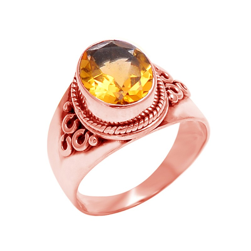 925 Sterling Silver Faceted Oval Shape Citrine Gemstone Black Oxidized Ring Jewelry