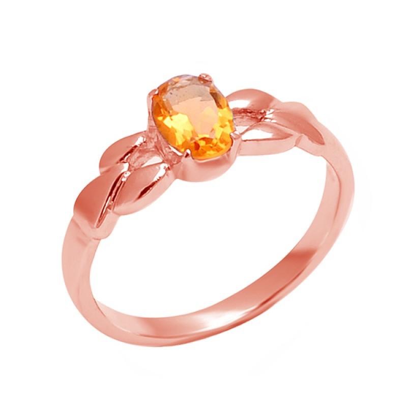 Oval Shape Citrine Gemstone 925 Sterling Silver Handcrafted Designer Ring