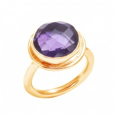 Briolette Round Shape Amethyst Gemstone 925 Sterling Silver Ring Jewelry
