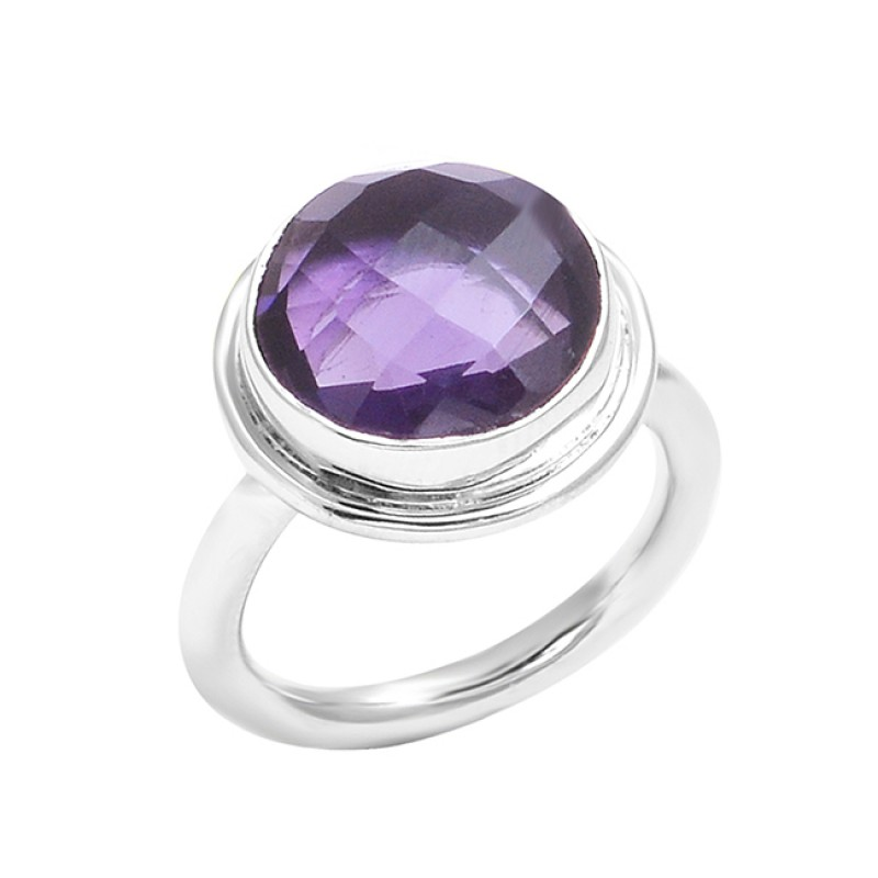 Briolette Round Shape Amethyst Gemstone 925 Sterling Silver Ring Jewelry