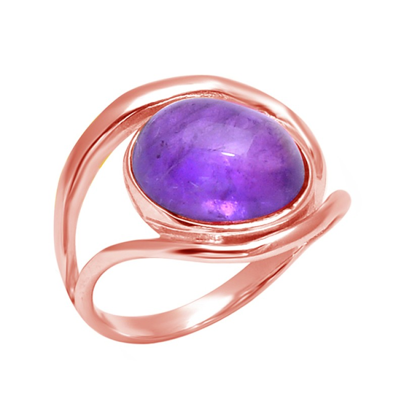 Latest Designer Cabochon Oval Amethyst Gemstone 925 Sterling Silver Band Ring