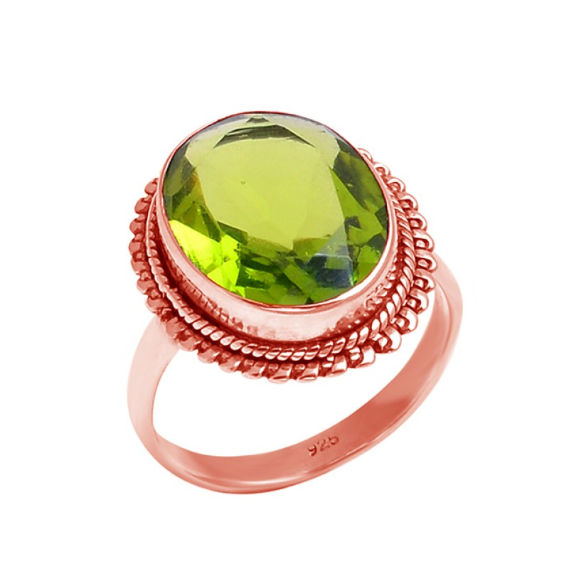 925 Sterling Silver Faceted Oval Shape Peridot Gemstone Attractive Designer Ring