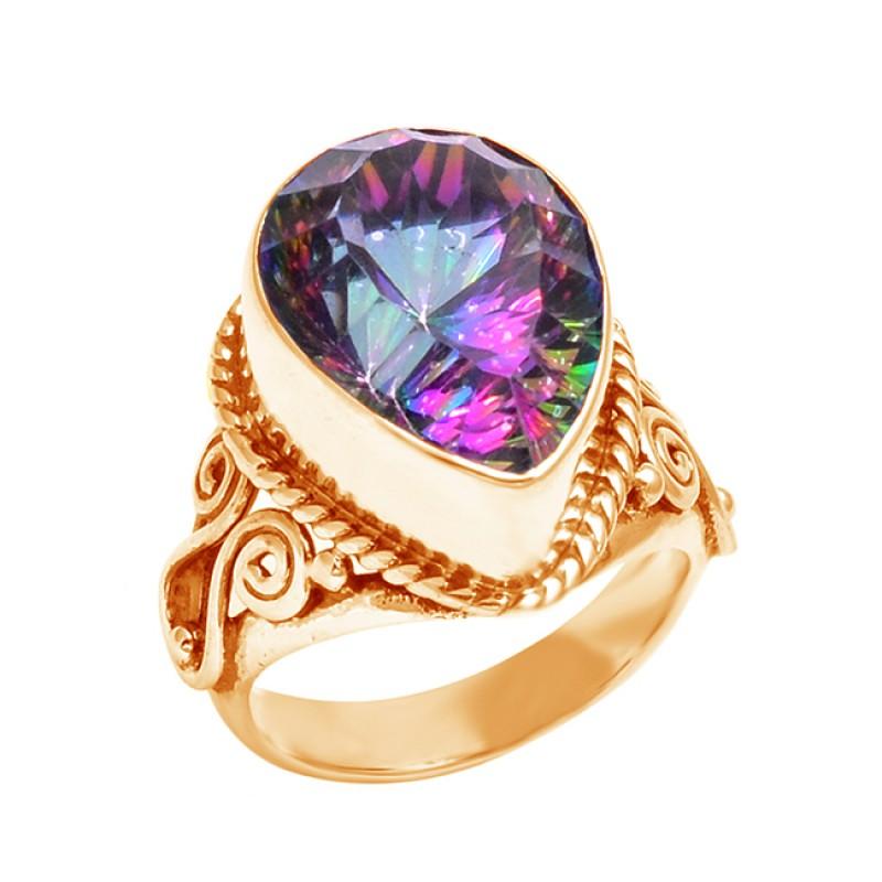 Mystic Topaz 925 Silver Gemstone Faceted Blue Mystic Topaz Designer Silver Ring