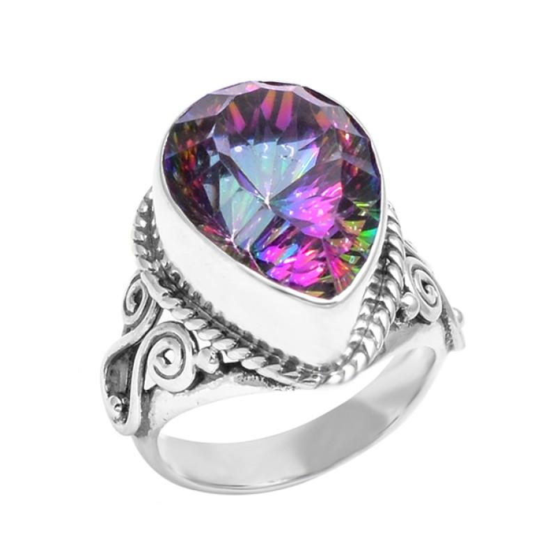 925 Sterling Silver Faceted Pear Shape Mystic Topaz Gemstone Handmade Designer Ring