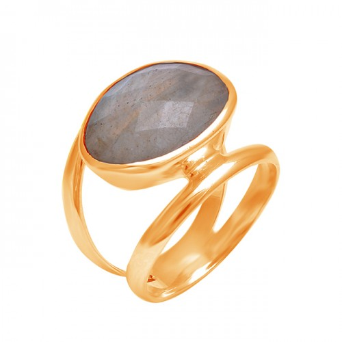 Faceted Oval Labradorite Gemstone 925 Sterling Silver Band Designer Ring