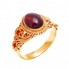 925 Sterling Silver Oval Cabochon Garnet Gemstone Black Oxidized Ring Jewelry