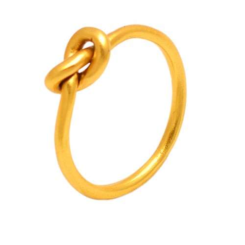 Unique Plain Designer 925 Sterling Silver Band Gold Plated Ring Jewelry