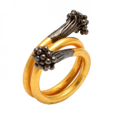 Unique Designer Plain Silver Gold Plated Handmade Ring Jewelry