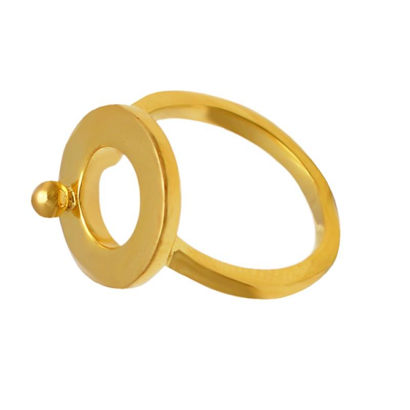 Handmade Plain Silver Designer Stylish Gold Plated Ring Jewelry