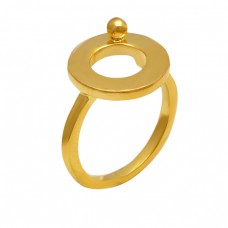 Handmade Plain Silver Designer Stylish Gold Plated Ring Jewelry