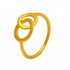 Handcrafted Plain Silver Light Weight Gold Plated Ring Jewelry