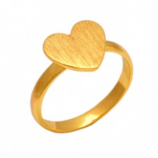 Heart Shape Designer Plain Silver Handmade Gold Plated Ring Jewelry