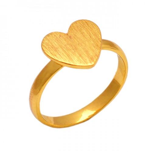 Heart Shape Designer Plain Silver Handmade Gold Plated Ring Jewelry