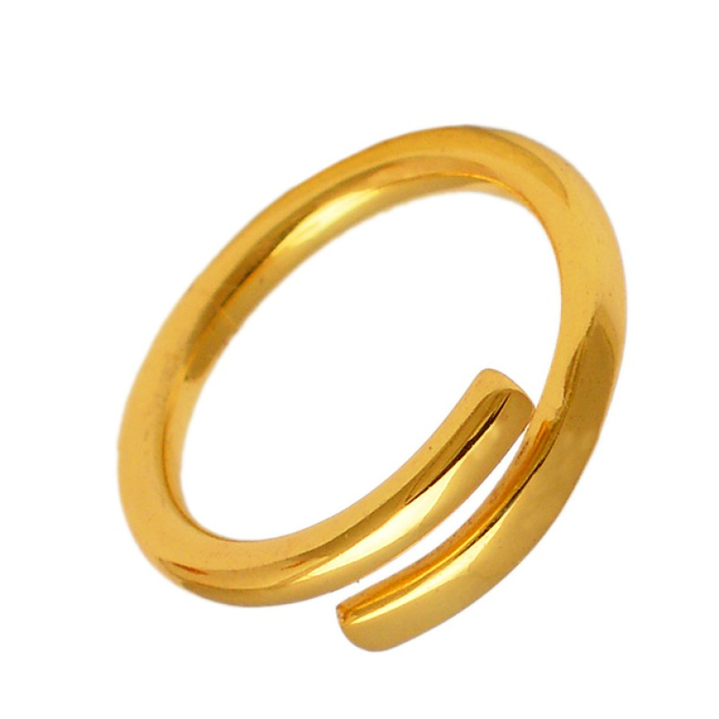 Simple Designer Plain Silver Handmade Gold Plated Ring Jewelry