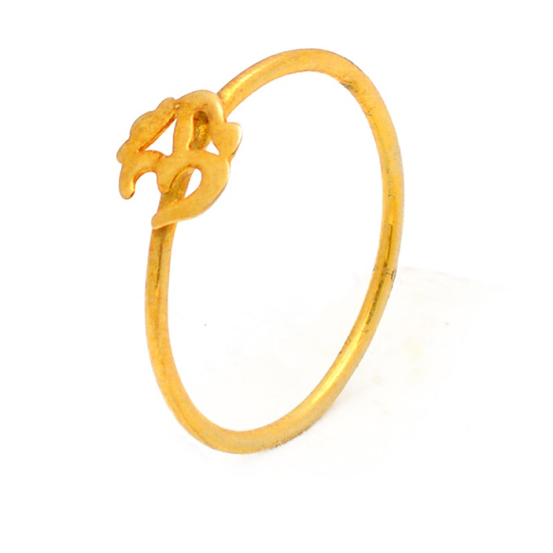 Traditional Plain Silver Handcrafted Gold Plated Ring Jewelry