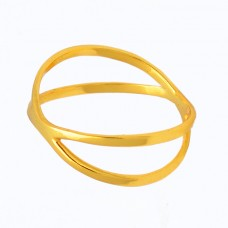 Latest Designer Plain Silver Handmade Gold Plated Ring Jewelry