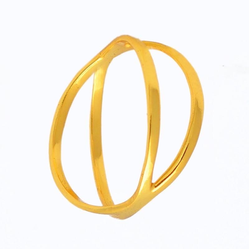 Latest Designer Plain Silver Handmade Gold Plated Ring Jewelry