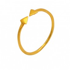 Arrow Designer Plain Silver Adjustable Gold Plated Ring Jewelry