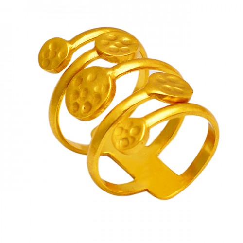 Hammered Attractive Plain Silver Designer Gold Plated Ring Jewelry