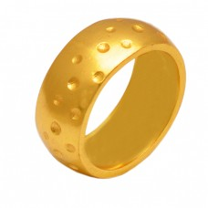 Fashionable Plain Silver Gold Plated Hammered Ring Jewelry