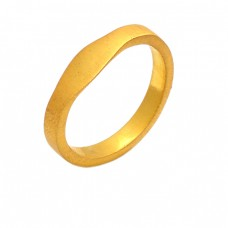 Stylish Plain Silver Handcrafted Gold Plated Ring Jewelry