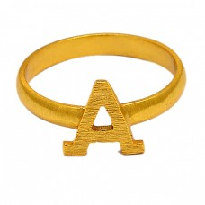"Alphabet ""A"" Designer Plain Silver Gold Plated Ring Jewelry"