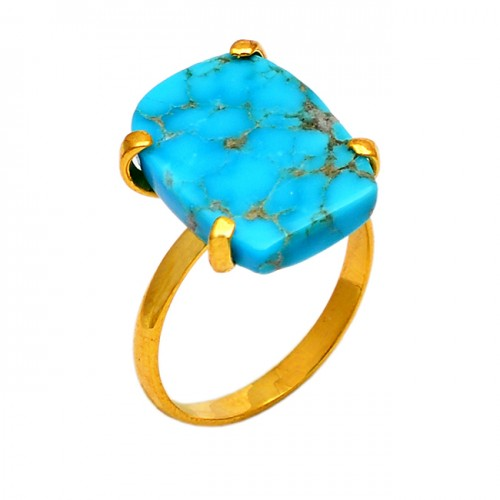 Rectangle Shape Turquoise Gemstone 925 Sterling Silver Gold Plated Ring Jewelry