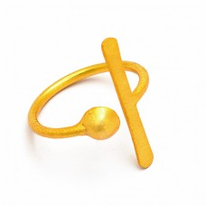 Latest Designer Plain 925 Sterling Silver Gold Plated Ring Jewelry