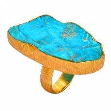 Raw Material Blue Copper Turquoise Rough Gemstone Silver Gold Plated Ring Jewelry
