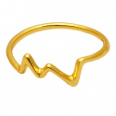 Very Light Weight Plain Designer 925 Sterling Silver Gold Plated Ring Jewelry