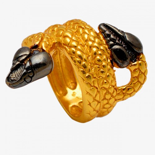 925 Sterling Silver Gold Plated Handmade Snake Ring Jewelry